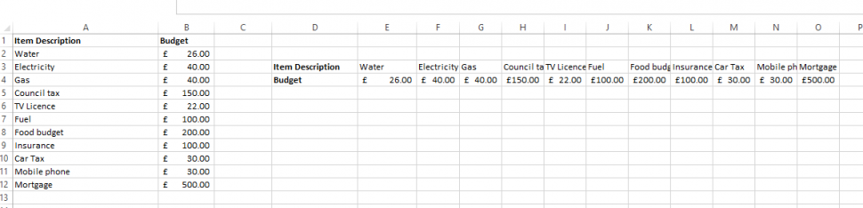 Transpose Data from a Row into a Column